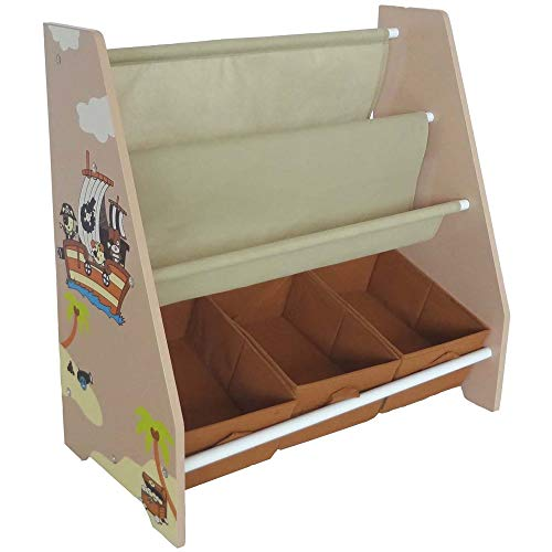 (Bebe Style Toddler Sized Premium Wooden Book Shelf Pirate Theme Easy Assembly Brown)