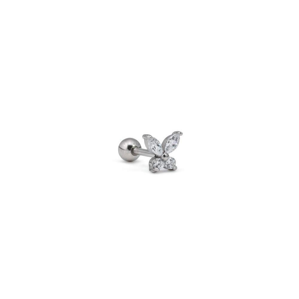 """Externally Threaded 16g 5//16/"""" Stainless Steel Ear Jewelry with Crystal Butterfly Charm"""