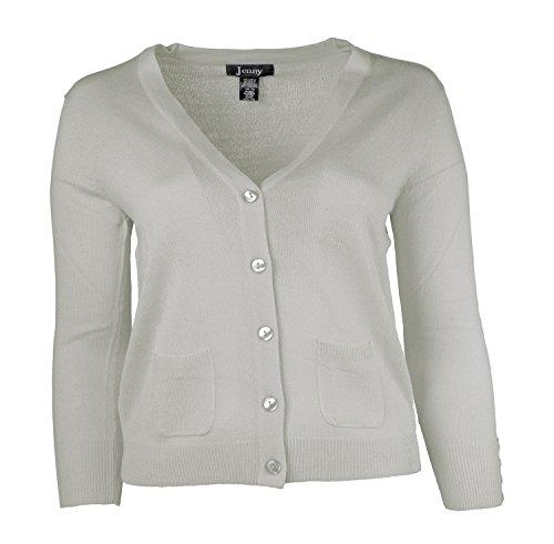 Jenny Petite Women's Cardigan V Neck Sweater White Size Medium ()