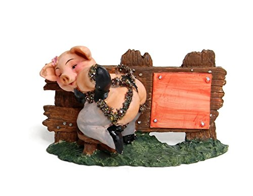 Medium Scale Cute Funny Garden Pig Statue Small Ornament Figurine Indoor Outdoor Yard Lawn Home Kitchen Resin Decor Size 3'' Tall Great for DIY Desktop Photo Picture Holder Clip Stand. (Sexy Post) ()