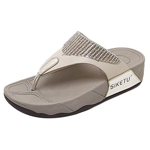 Insun Damen Sandalen Schuhe Plateau Sandalen Sommer Schuhe Strass Strand Flip Flop Hausschuhe Beige