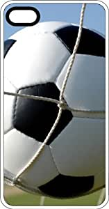 Soccer Ball Scoring A Goal White Rubber Case for Apple iPhone 4 or iPhone 4s