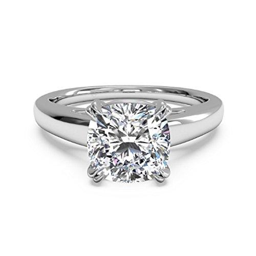 2.00 Ct Cushion Cut Moissanite Diamond Engagement Ring 14K White Gold Size...
