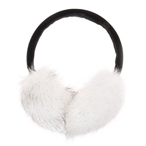 ZLYC Womens Girls Winter Fashion Adjustable Faux Fur EarMuffs Ear Warmers, White by ZLYC