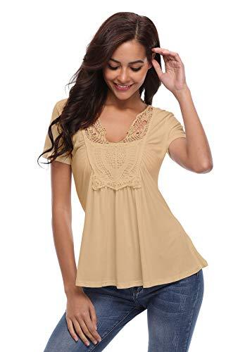 ort Sleeve Shirts Tops Deep V Neck Summer Tunic Blouse Shirt-Light Apricot-XS ()
