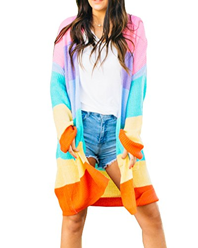 FISACE Womens Long Striped Oversized Rainbow Cardigan Sweater Open Front Cable Chunky Knitwear with Pockets