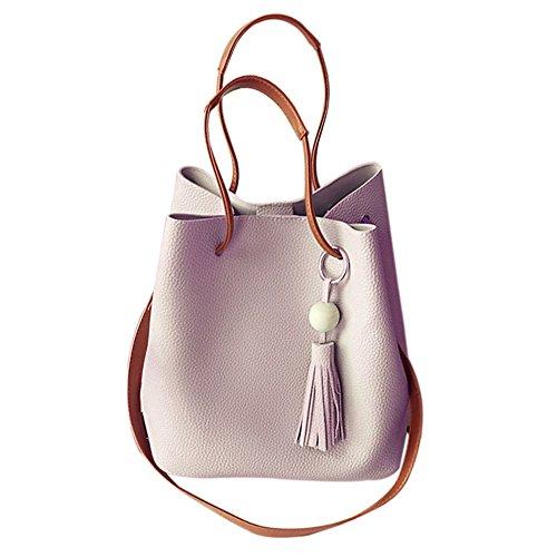 Women Handbag,Women Bag, KINGH Vintage Tassels Handbag Purse 2 PCS a Set PU Leather Bucket Bag 045 Pink