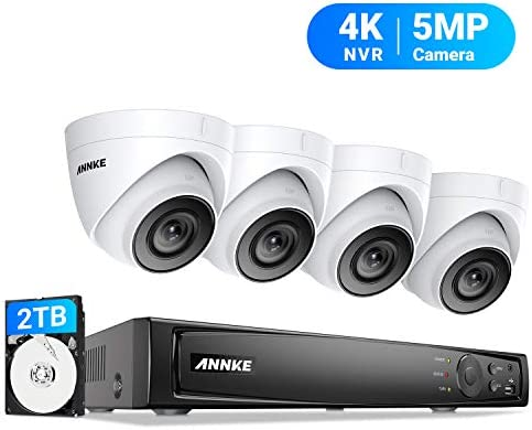 ANNKE 5MP POE Security Camera System, 8CH Upgraded H.265 4K NVR, Color Night Vision, 4pcs IP67 5MP PoE IP Cam 2TB HDD, Used Indoors and Outdoors, Store More Video for Home Business Surveillance