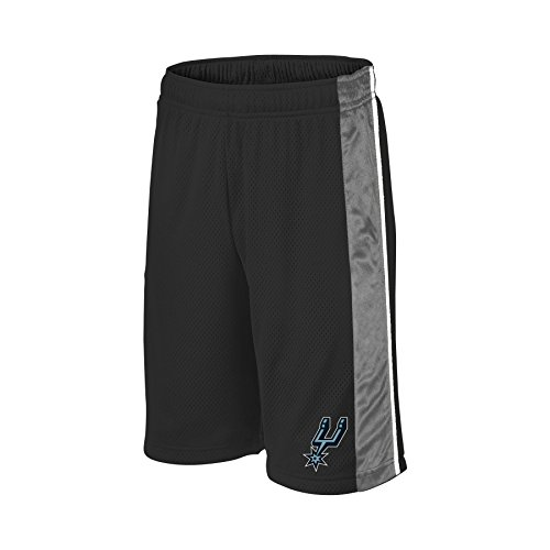 NBA San Antonio Spurs Children Unisex NBA Youth bar Stripe Poly Shorts,M,Black/Grey/White