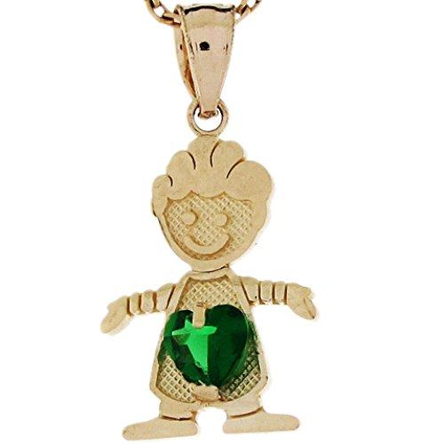 Jewelry Liquidation 10k Real Gold Simulated Emerald May Birthstone Love My Baby Boy Charm