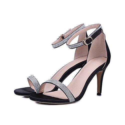 AmoonyFashion Womens Open Toe Buckle Silk Solid Spikes Stilettos Sandals Black DiyXY