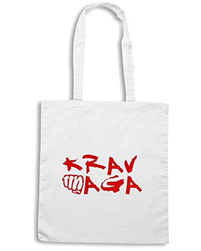 T-Shirtshock - Bolsa para la compra TAM0108 krav maga red hooded sweatshirt Blanco