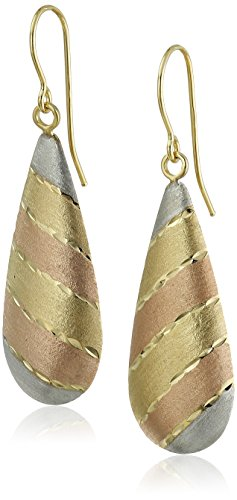 14K Gold Tri Color Teardrop Satin Finish Drop Earrings