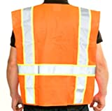 """ANSI Class 2, Orange Safety Vest with 3"""" Yellow / 2"""" Silver Reflective, W/pockets {X-large}"""