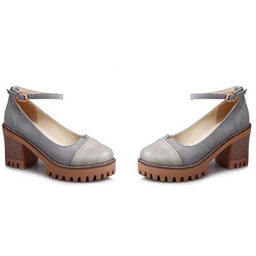 COOLCEPT Mujer Moda Al Tobillo Court Zapatos Cerrado Tacon Ancho Bombas Zapatos Gris