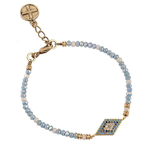 (tom+alice Independent Design Handmade 3MM Glass Beads Bracelets Palace Style Bracelets for Women Diamond-Shaped Board Embellish with Imported Crystal 3 Colours (Light-blue) ¡)