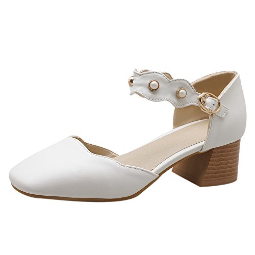 TAOFFEN Women Fashion Dress Sandals Block Heel White