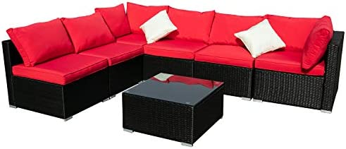Outdoor Wicker Patio Furniture 7pcs Sectional Cushioned Rattan Conversation Sofa Sets Black Red