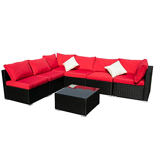 Outdoor Wicker Patio Furniture 7pcs Sectional Cushioned Rattan Conversation Sofa Sets Black (Red)