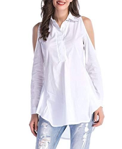Camisa Sólido Mujer Color Solapa Tops Manga Camisas Túnicas Blanco Ropa  Casual Tirantes Adelina Con De ... 4e1a5d76f2567