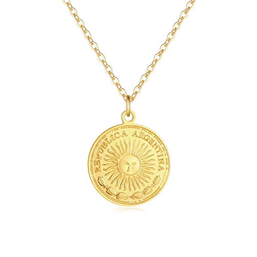VACRONA Gold Coin Pendant Necklaces,18K Gold Filled Circle Sunface Engraved Republica Argentina One Peso Coin Dainty Vintage Handmade Pendants Necklaces Jewelry for Women