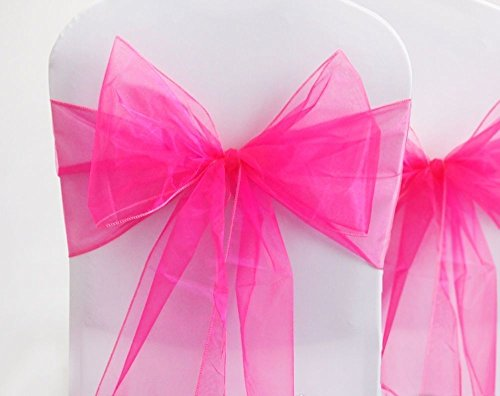 Set of 10 Chair Bows Sashes Tie Back Decorative Item Cover ups For Wedding Reception Events Banquets Chairs Decoration Fuchsia