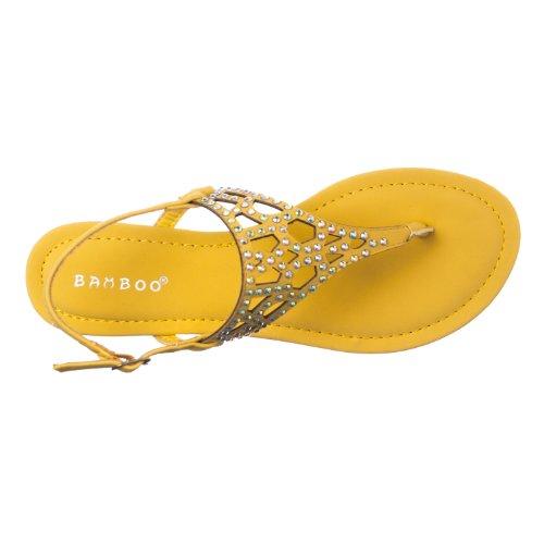 Bamboe Vrouwen Omgaan Met Strass-gedetailleerde T-strap Sandalen Citroen