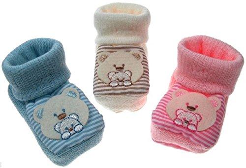 Bebé recién nacido patucos Teddy, diseño de botitas crema y rosa o azul rosa rosa rosa