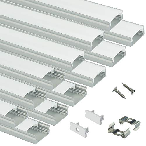 Muzata LED Channel System with Milky White Cover Lens,Silver Aluminum Extrusion Profile Housing Diffuser Track for Strip Light with Video 12PACK 1M/3.3FT U Shape U1SW (Floor Strip Clip)