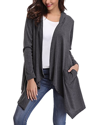 iClosam Womens Long Sleeve Draped Open Front Hooded Cardigan Sweater with (Hooded Open Cardigan)