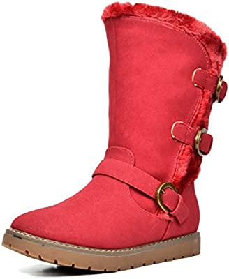 DREAM PAIRS Girls Faux Fur Lined Knee High Winter Boots Toddler//Little Kid//Big Kid