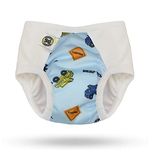 Training Waterproof Pants (Pull-on Undies 2.0 Stretchy Waterproof Potty Training Pants and Toilet Training Underwear (Medium, Dumps and Trucks))