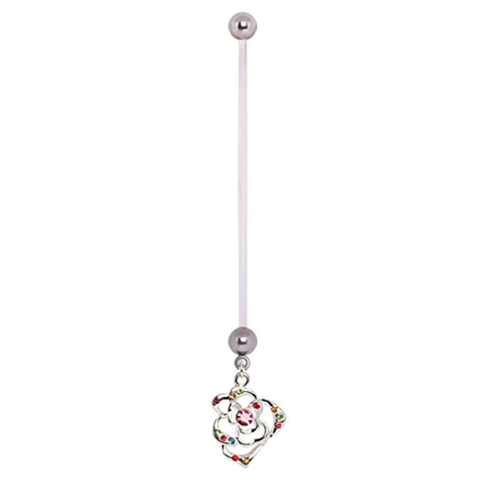 Pierced Owl Rainbow CZ Crystal Flower Dangle BioFlex Pregnancy Maternity Belly Button Navel Ring Retainer by Pierced Owl