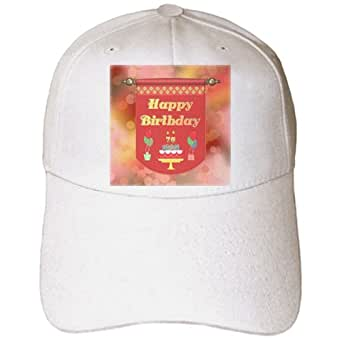 3dRose cap_186522_1 Beverly Turner Birthday Design - Happy 76th Birthday Banner, Cake with Gifts and Balloons - Caps - Adult Baseball Cap