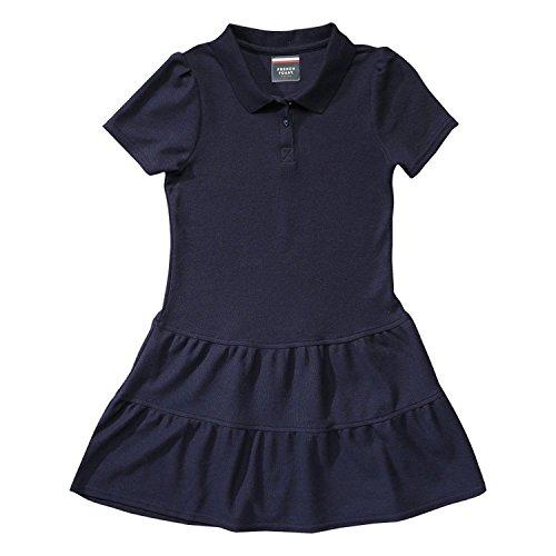 French Toast Big Girls Ruffle Pique Polo Dress, Navy, Medium/7/8