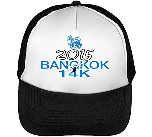 Bangkok 14K Gorras Hombre Snapback Beisbol Negro Blanco
