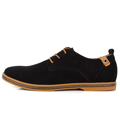 Cior Heren Oxford Classic Dress Suède Casual Schoenen Lace-up Loafer Flats Sneakers 01black