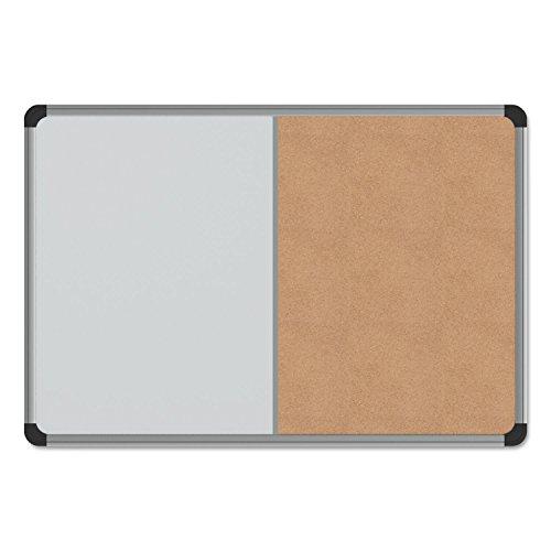 Universal 43742 Cork/Dry Erase Board, Melamine, 24 x 18, Black/Gray Aluminum/Plastic Frame