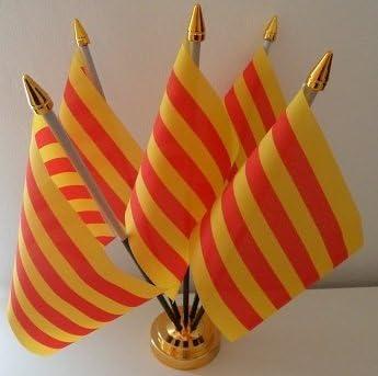 Mesa de escritorio de la bandera de Cataluña de la bandera de España 5 con pantalla dorado Base: Amazon.es: Hogar