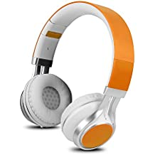YHhao Over-Ear Headphones, On-Ear Headsets Noise Cancelling Foldable Headphones with Mic and 3.5mm Detachable Cord for iPhone, iPad, Android Smartphones, PC, Computer, Laptop, Mac, Tablet , Orange