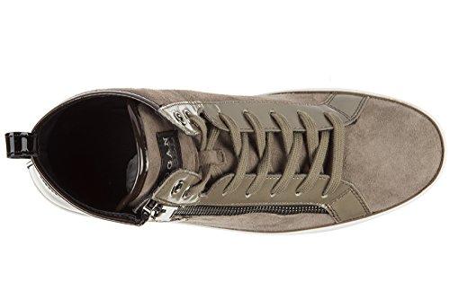 Hogan Rebel chaussures baskets sneakers hautes femme en daim rebel r182 high top