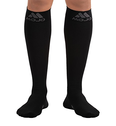 Mojo Compression Socks - Comfortable Coolmax Material for Recovery & Performance. Medical Support Socks - Firm Support - Compression stockings for women & men (Black, Medium) ()