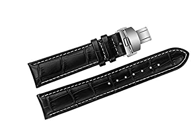 23mm Black Luxury Replacement Leather Watch Straps/Bands Padded Italian Cowhide Grosgrain Handmade with White Stitching