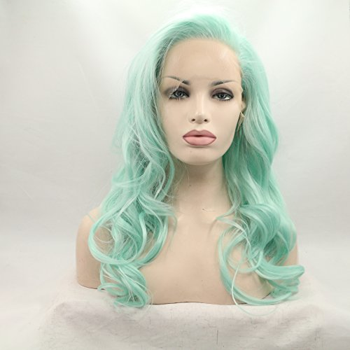Lucyhairwig Glueless High Temperature Heat Resistant Fiber Hair Long Wavy Mint Green Synthetic Lace Front Wig for Drag Queen