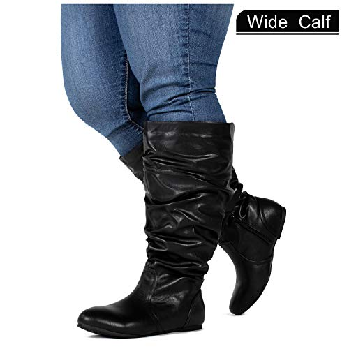 RF ROOM OF FASHION Wide Calf Slouchy Knee High Boots Black PU (11) -