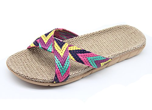 Flax Cross Indoor Outdoor Rose Sandals Breathable FRALOSHA Slippers Women's House Shoes AqZnnwHS6f