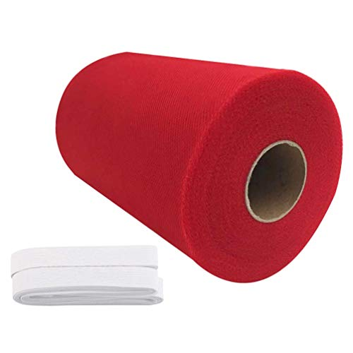 Tulle Roll Spool 6 Inch x 100 Yards (300FT) Wedding Party Decoration,Tutu Skirts with Elastic Band by RayCC (Red Colour)