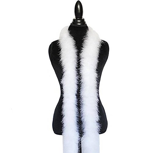Marabou White Trim - Cynthia's Feathers 30 Gram Marabou Feather Boa 6 Feet Long Crafting Sewing Trim Hair Bows Wedding Party Halloween Costume Decoration (White)