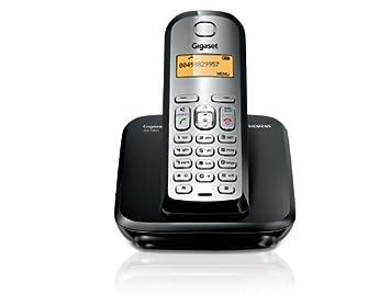 Siemens Gigaset AS 290 - Teléfono fijo digital (inalámbrico, alarma, clip, lista de direcciones: 80), Negro y Plata