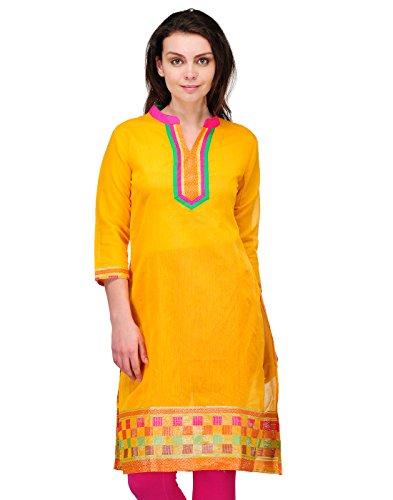 Cenizas Women's Indian Tunic Top Silk Kurti Large Yellow